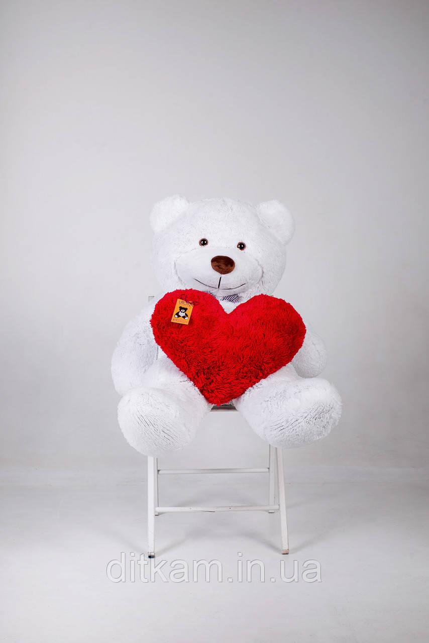 Мягкая игрушка Медведь Бенжамин с сердцем (135см)Белый