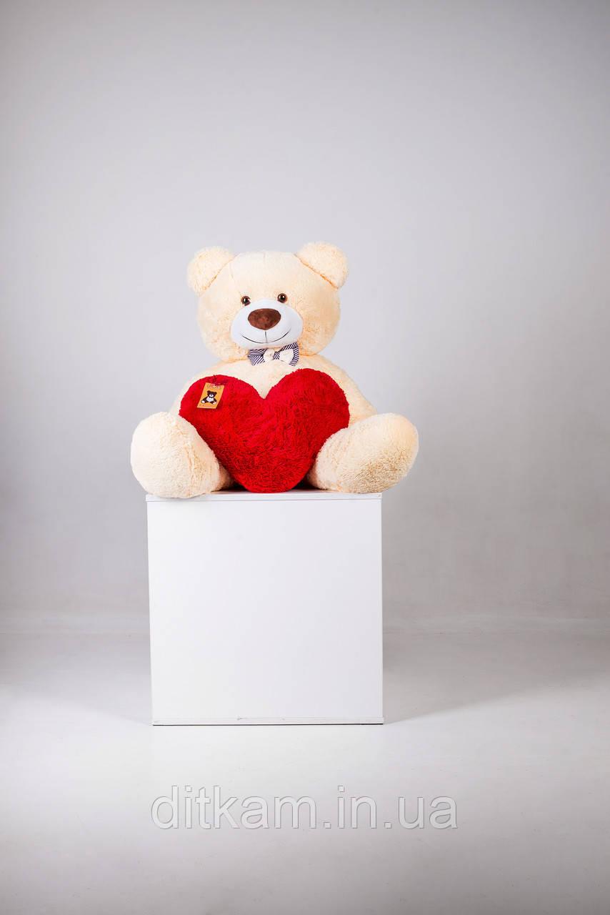 Мягкая игрушка Медведь Бенжамин с сердцем (135см)Персиковый