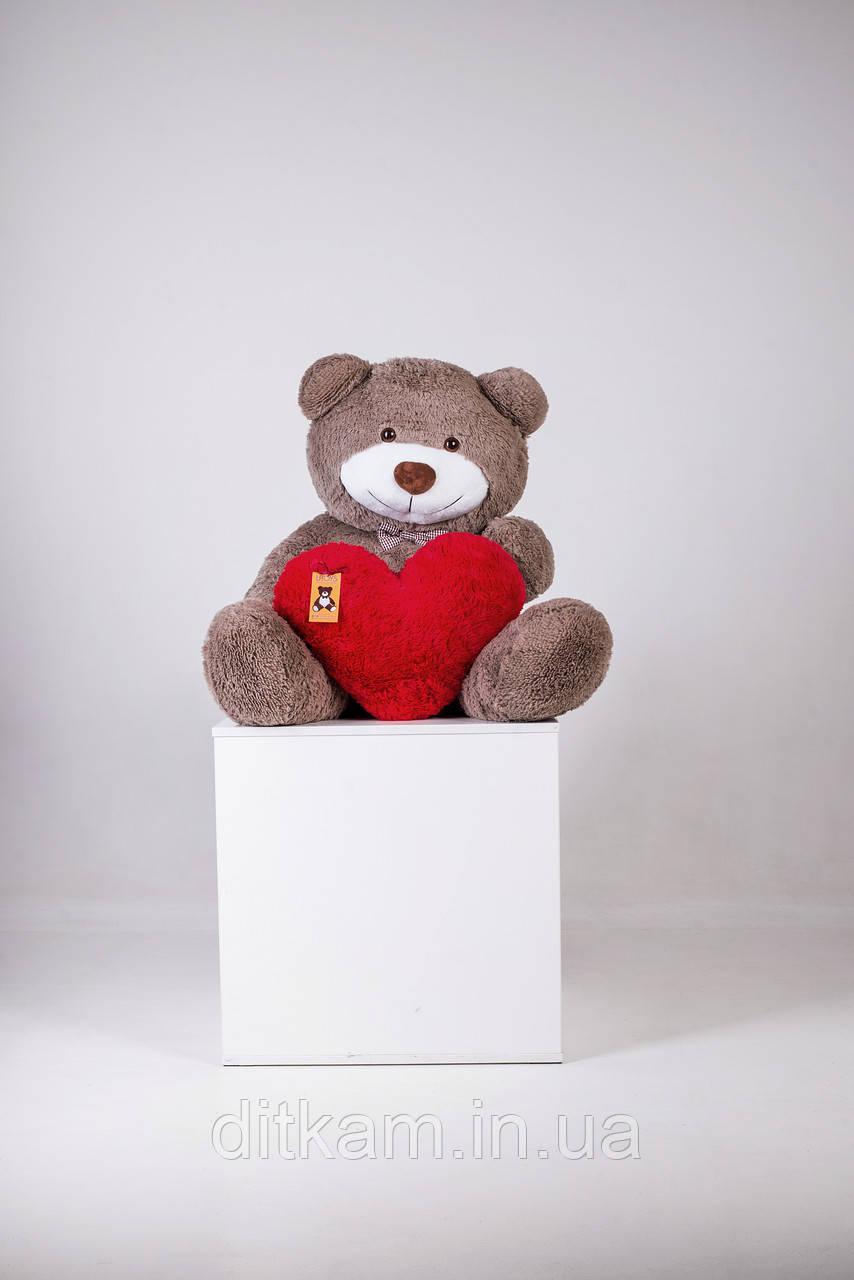 Мягкая игрушка Медведь Бенжамин с сердцем (135см)Капучино