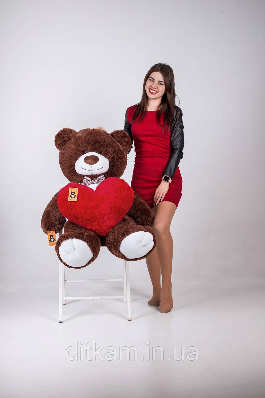 Мягкая игрушка Медведь Бенжамин с сердцем (135см)Шоколадный