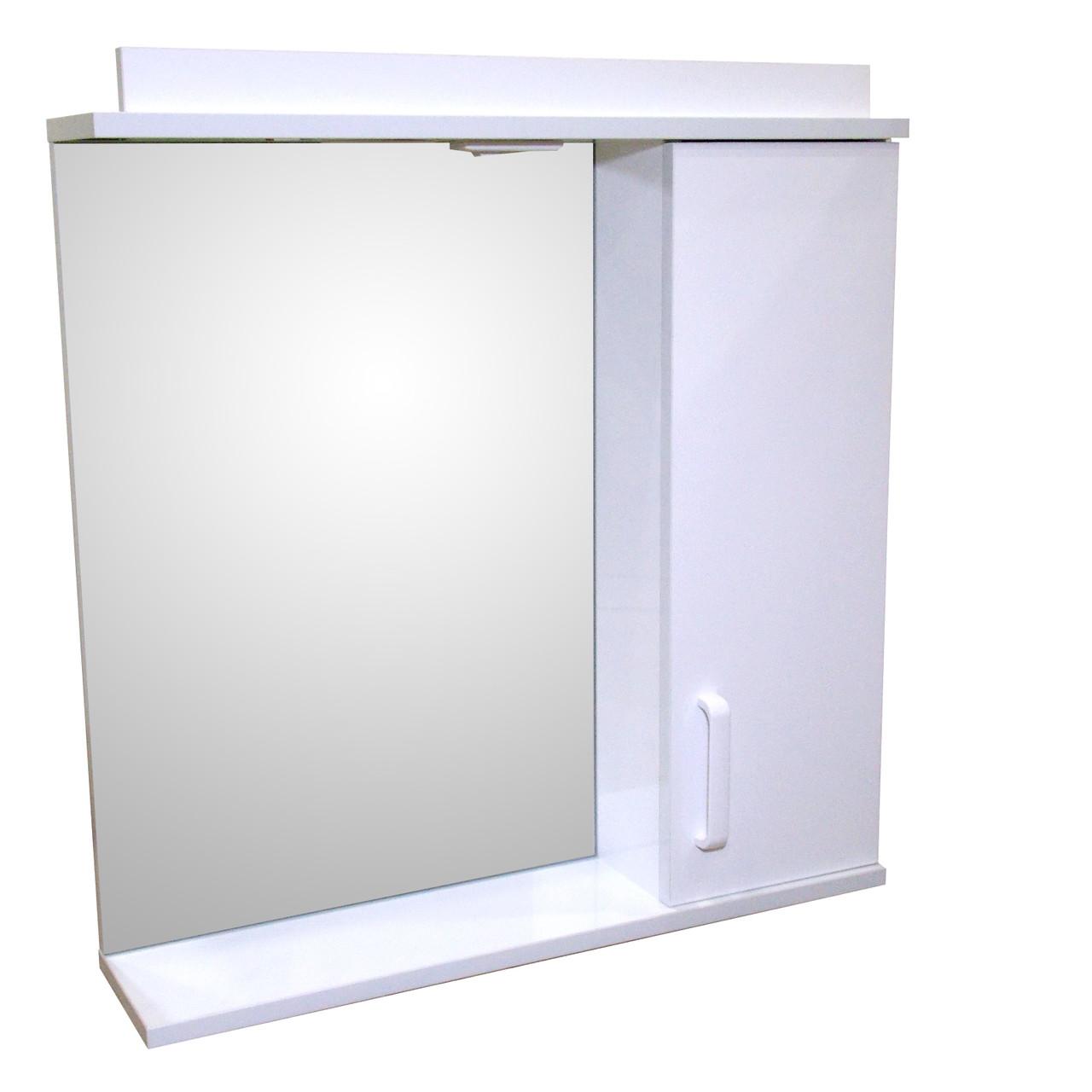 Зеркало 70 для ванной комнаты с подсветкой и шкафчиком Дебют Перфект  белый