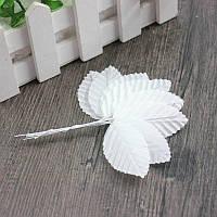 (10шт) Листочки на проволоке (цена за 10 листочков) Цвет - Белый