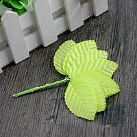 (10шт) Листочки на дроті (ціна за 10 листочків) Колір - Світло-Салатовий