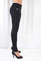 Стильные оригинальные черные лосины из коттона с замочками, средняя посадка, фото 3