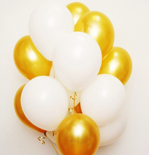 Фонтан из шаров с гелием Золото Металлик,Белый Пастель 30 см. 20 шт.
