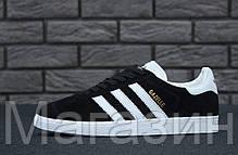Мужские кроссовки Adidas Originals Gazelle Адидас Газели черные, фото 2