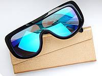 Солнцезащитные очки Celine - маска зеркальные, синего цвета - чехол и салфетка в подарок, фото 1
