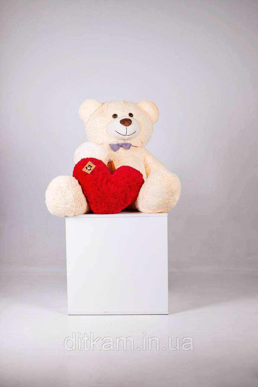 Мягкая игрушка Медведь Билли с сердцем (150см)Персиковый