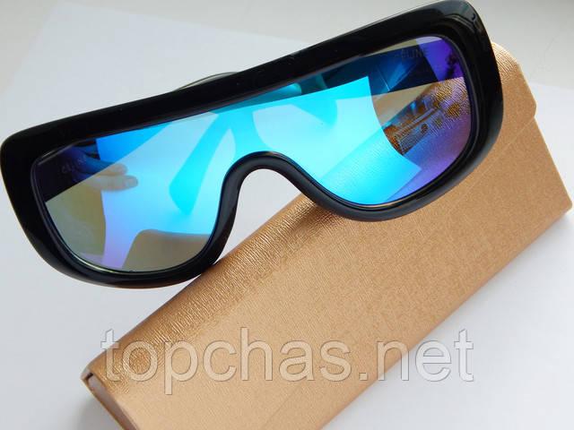 Качественные солнцезащитные очки Celine маска синего цвета