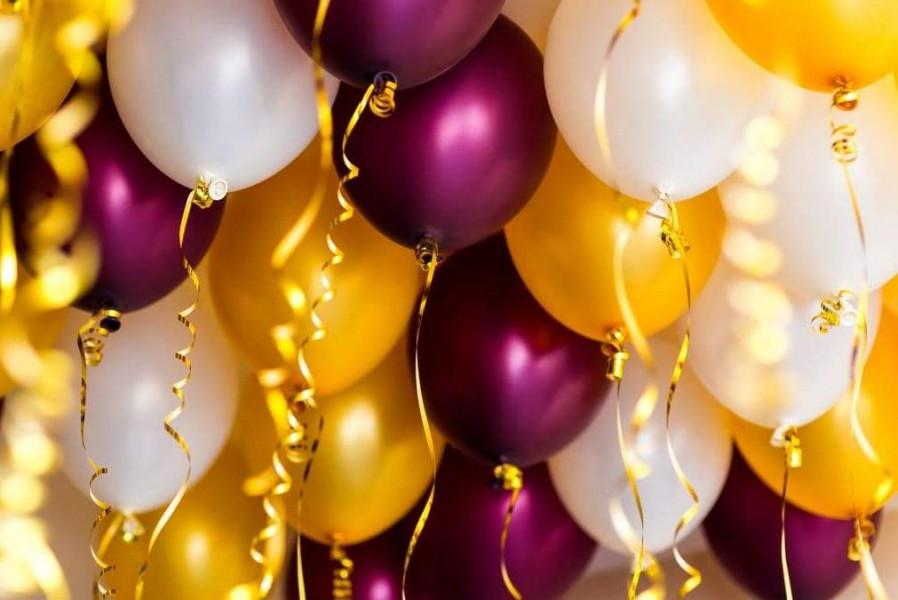 Фонтан из шаров с гелием Хромовые(Золото,Бургундия,)Белый Металлик 30 см. 20 шт.