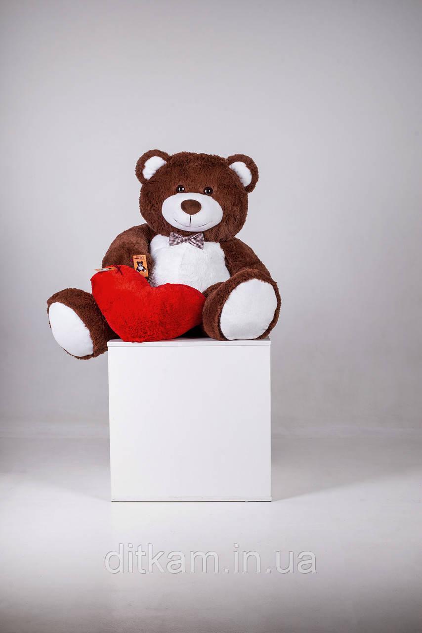 Мягкая игрушка Медведь Билли с сердцем (150см)Шоколадный