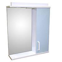Дзеркало 60 для ванної кімнати з підсвічуванням і шафкою Дебют Перфект мотиль бірюза