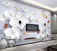 """3D фотообои """"3D цветы и бабочки"""""""""""