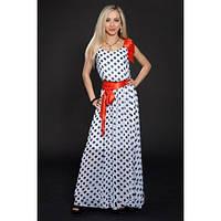 Платье макси шифоновое в горошек