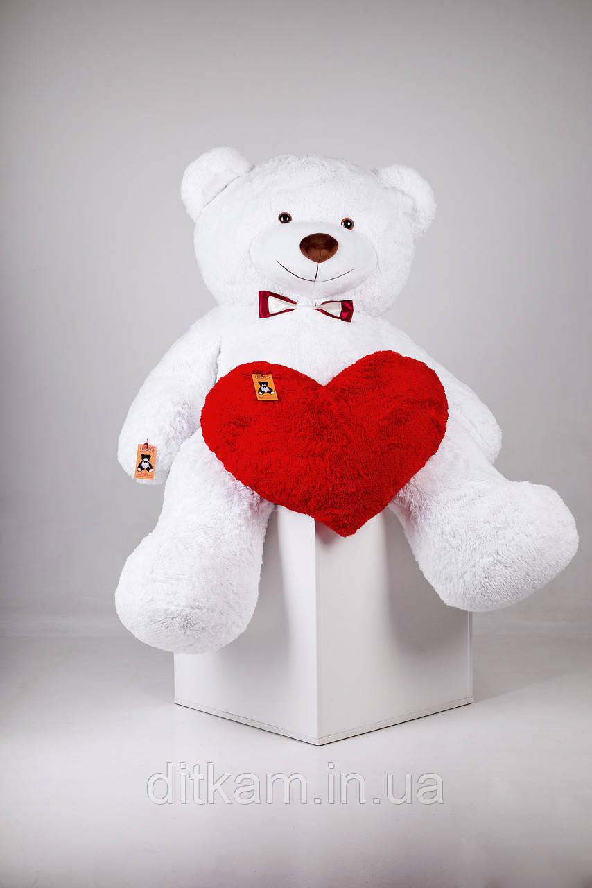 Мягкая игрушка Медведь Ричард с сердцем (200см)Белый