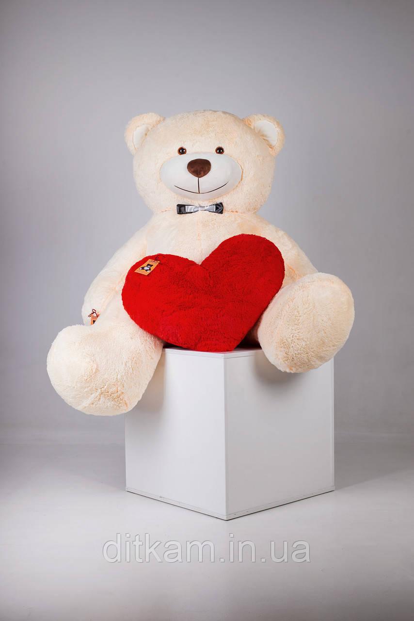 Мягкая игрушка Медведь Ричард с сердцем (200см)Персиковый