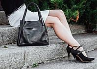 Кожаная сумка модель 33 черный флотар с кайманом, фото 1
