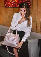 Кожаная сумка модель 33 пудра флотар с перламутром, фото 1