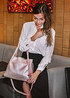 Шкіряна сумка модель 33 пудра флотар з перламутром, фото 1