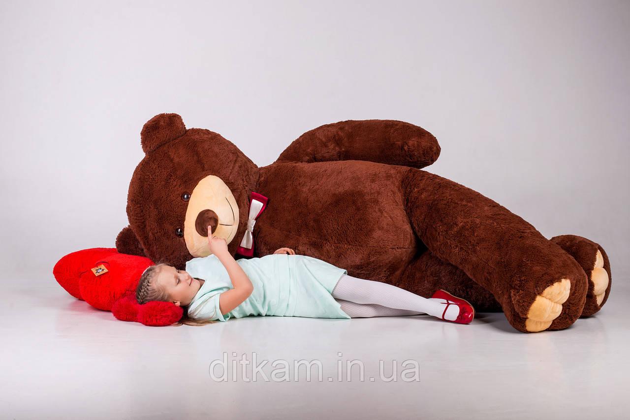 Мягкая игрушка Медведь Уильям с сердцем (250см)Шоколадный