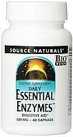 Эфирные Энзимы 500мг, Source Naturals, 60 гелевых капсул