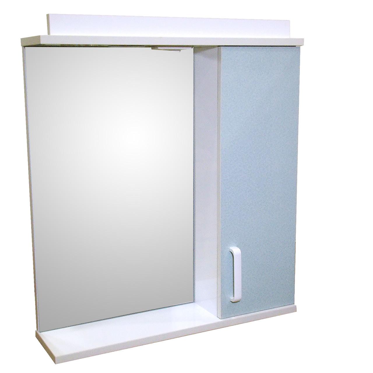 Зеркало 65 для ванной комнаты с подсветкой и шкафчиком Дебют Перфект  мотыль бирюза