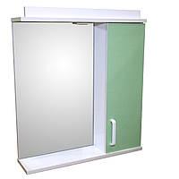 Зеркало 65 для ванной комнаты с подсветкой и шкафчиком Дебют Перфект  салат