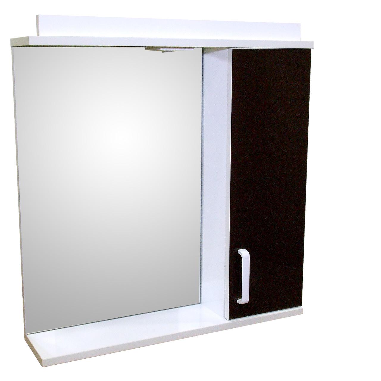 Зеркало 70 для ванной комнаты с подсветкой и шкафчиком Дебют Перфект  шоколад