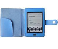 Голубой чехол (обложка) для Kindle Touch из натуральной кожи, фото 1