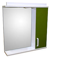 Дзеркало 70 для ванної кімнати з підсвічуванням і шафкою Дебют Перфект оливковий, фото 1