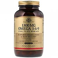 Омега 3-6-9, 1300 мг, Solgar, 120 желатиновых капсул