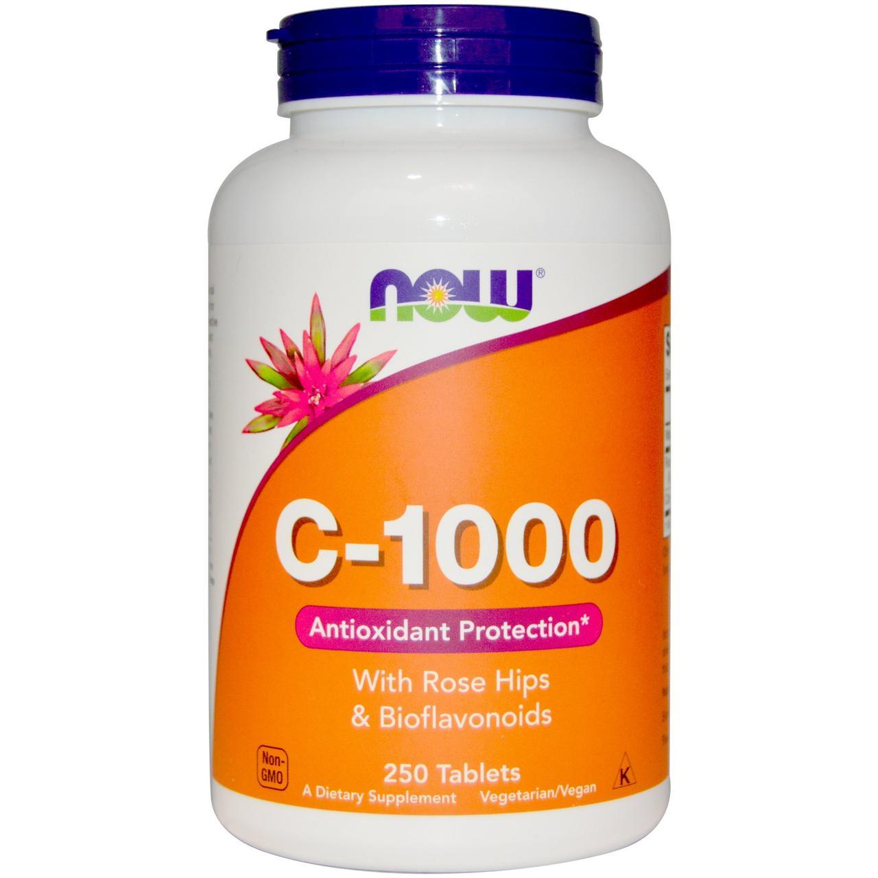 Витамин С-1000 с Шиповником + Биофлавоноиды, Now Foods, 250 таблеток