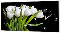 Настенные часы Декор Карпаты 53х29 Тюльпаны Черный (53х29-c246)
