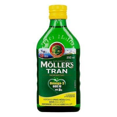 Рыбий жир для детей от 3-х лет и взрослых  (Норвегия) Mollers Tran с цитрусовым вкусом 250 ml
