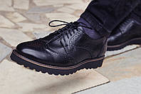 Туфли броги мужские черные кожаные Оникс (Onyx) от бренда Legessy размер 40, 41, 42, 43, 44, 45, фото 1