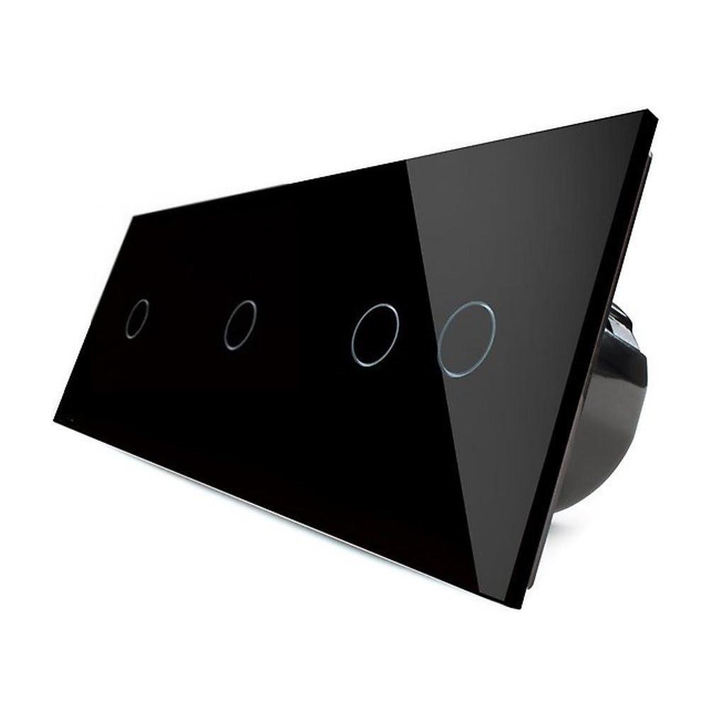 Сенсорный выключатель Livolo 1-1-2, цвет черный, стекло (VL-C701/C701/C702-12)