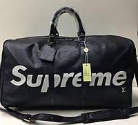 Дорожная сумка реплика louis Vuitton SUPREME эко-кожа черная 10792