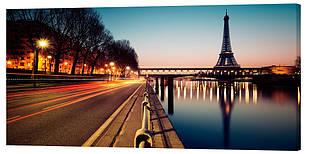 Картина на полотні Декор Карпати Нічний Париж 50х100 см (g144)