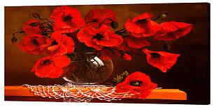 Картина на полотні Декор Карпати Маки у вазі 50х100 см (c164)