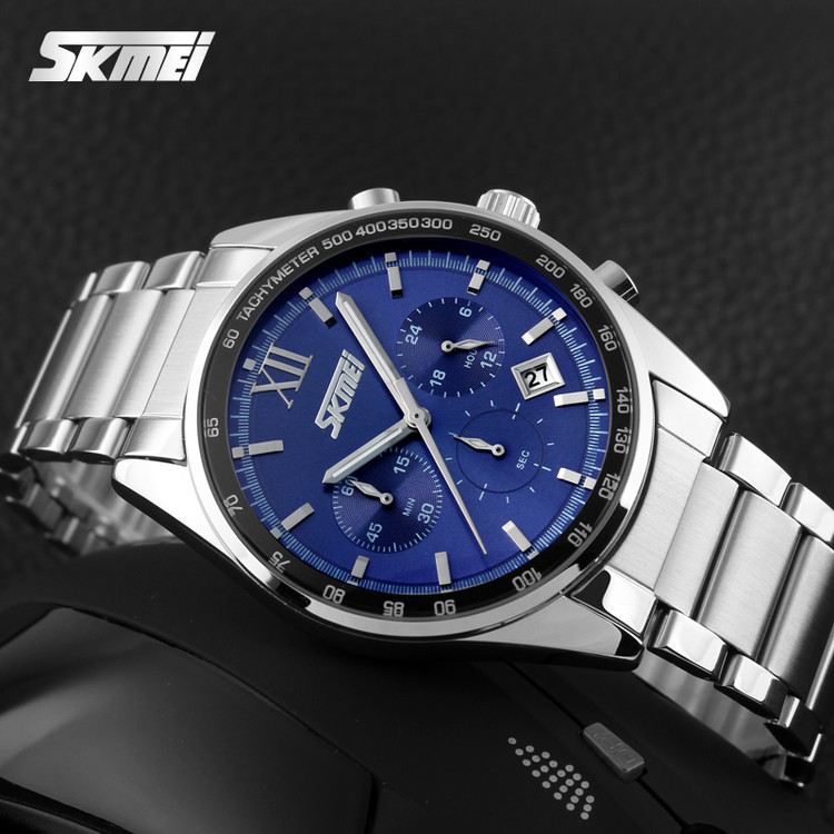 • Гарантия! Мужские часы Skmei (Скмей) 9096 / Skmei Tandem Blue I Классические Мужские часы