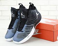 Кроссовки баскетбольные Nike Air Jordan Super.Fly 5 Black/Blue (Реплика ААА класса)