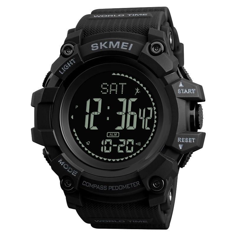 Cпортивные часы с компасом Skmei (Скмей)1356 Compass Black