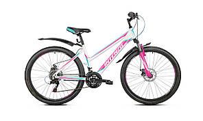 """Женский велосипед Intenzo Delta Disk 26"""",бело-розовый с бирюзовым"""