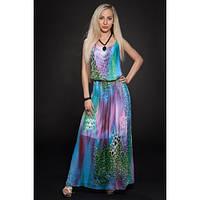 Яркое шифоновое платье в пол,44,46