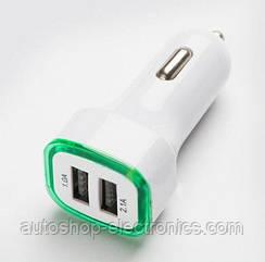 Адаптер питания для автомобиля с двумя портами USB и зеленой подсветкой