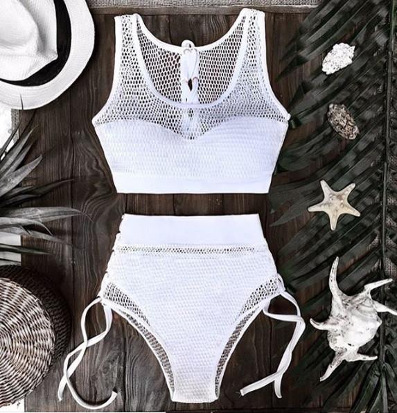 Женский купальник с высокой талией белый с сеткой