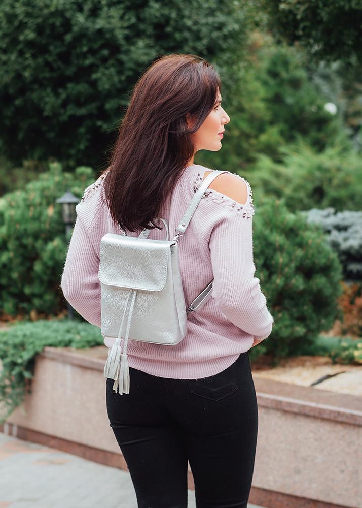 Рюкзак кожаный модель 03 серебристый флотар, фото 1