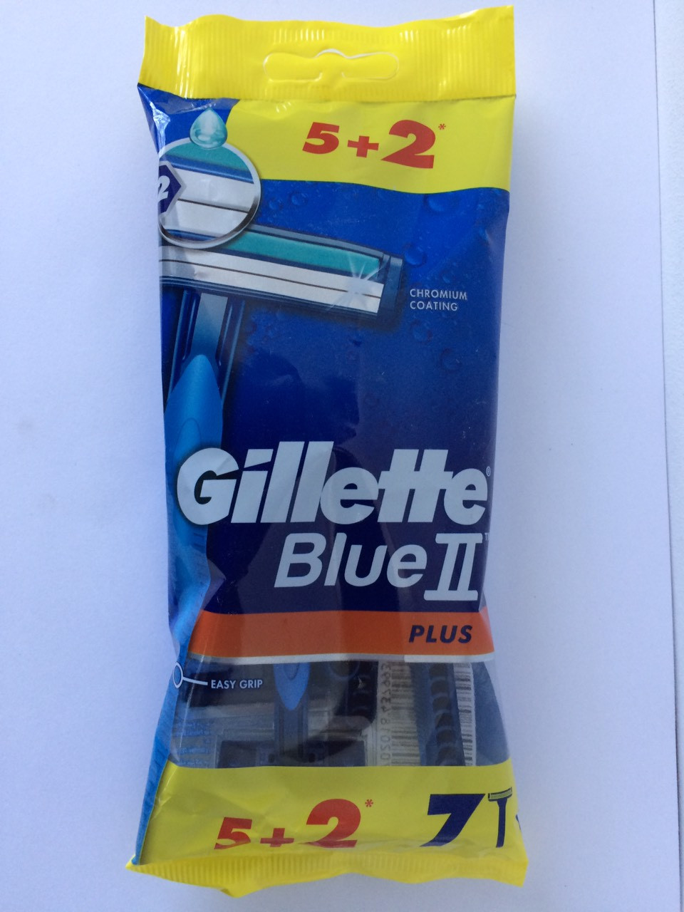Станок мужской одноразовый для бритья Gillette Blue II Plus  5+2 шт. (Жиллет Блю ll)