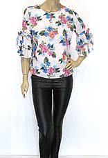 Жіноча весняна блузка з квітковим принтом, фото 3