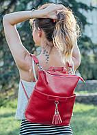 Рюкзак трансформер шкіряний модель 05 червоний флотар, фото 1